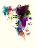 Woman Portrait .Abstract Watercolor .Fashion Background Art by Anna Ismagilova