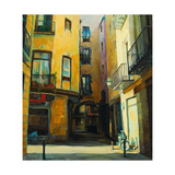 Court Yard in Gothic Quarter of Barcelona, Painting, Illustratio Poster by Mikhail Zahranichny