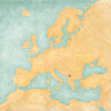 Map of Europe - Kosovo (Vintage Series) Print by  Tindo