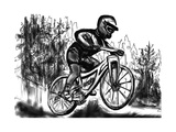 Hand Drawn Mtb Downhill Print by  jim80