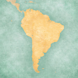 Map of South America - Blank Map (Vintage Series) Prints by  Tindo
