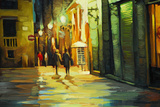Rain in Gothic Quarter of Barcelona, Painting by Oil, Illustrati Posters by Mikhail Zahranichny