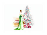 Cute Woman Decorating .Christmas Tree Prints by Anna Ismagilova