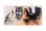 Beautiful Airbrush Painting of an Young Indian Warrior Accompani Lámina por  jozefklopacka