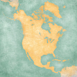Map of North America – Blank Map (Vintage Series) Prints by  Tindo