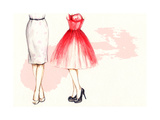 Shoes and Dress. Hand Painted Fashion Illustration Print by Anna Ismagilova