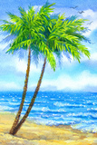 Watercolor Landscape. Tall Palms on a Sandy Beach Prints by  Marina