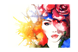 Woman Portrait .Abstract Watercolor .Fashion Background Affiches par Anna Ismagilova