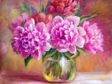 Peonies in Vase, Oil Painting on Canvas Prints by  Valenty