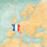 Map of Europe - France (Vintage Series) Art by  Tindo