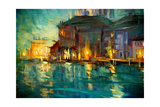 Night Landscape to Venice, Painting by Oil on Plywood, Illustrat Art by Mikhail Zahranichny