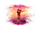Loving Silhouettes in Sunset Posters av  okalinichenko