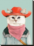 Rodeo Cat Stretched Canvas Print by  Animal Crew