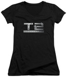 Juniors: Terminator 2 - Gunshot Logo V-Neck T-Shirt