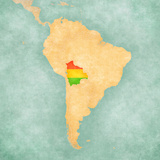Map of South America - Bolivia (Vintage Series) Premium Giclee Print by  Tindo