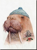 Tattooed Walrus Impressão em tela esticada por  Animal Crew