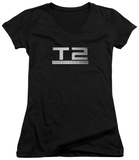 Juniors: Terminator 2 - Logo V-Neck T-Shirt