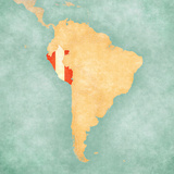 Map of South America - Peru (Vintage Series) Prints by  Tindo
