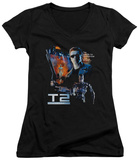 Juniors: Terminator 2 - Battle V-Neck Womens V-Necks