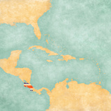 Map of Caribbean - Costa Rica (Vintage Series) Premium Giclee Print by  Tindo