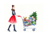 Watercolor Illustration of Lady with Shopping Cart Art by Anna Ismagilova