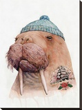 Tattooed Walrus Stretched Canvas Print by  Animal Crew