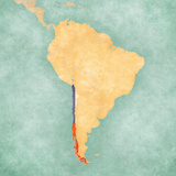 Map of South America - Chile (Vintage Series) Premium Giclee Print by  Tindo
