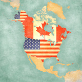 Map of North America - USA and Canada (Vintage Series) Prints by  Tindo
