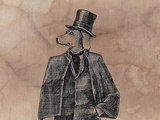 Dog Gentleman with Vintage Textile Posters by  tannene