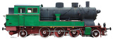 Green and Red Steam Locomotive Standup Cardboard Cutouts
