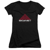 Juniors: Terminator 2 - Skynet V-Neck T-shirts