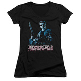 Juniors: Terminator 2 - Poster V-Neck Shirts