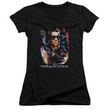 Juniors: Terminator - Your Future V-Neck T-shirts