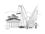 An enormous origami crane lifts wood for the construction of a Japanese te… - New Yorker Cartoon Premium Giclee Print by Charlie Hankin