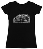 Womans: Mob Car V-Neck T-shirts