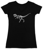 Womans:  T-Rex - Bones V-Neck Shirts