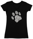 Womans: Dog Paw V-Neck T-Shirt