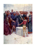 He Stood There Holding the Magic Sword in His Hand Giclee Print by AS Forrest