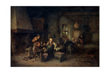 The Interior of an Inn with Nine Peasants and a Hurdy-Gurdy Player, 1653 Giclee Print by Adriaen Van Ostade