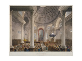 Interior of the Church of St Stephen Walbrook During a Service, City of London, 1809 Giclee Print by Augustus Charles Pugin