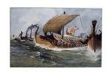 Viking Longships under Sail Giclee Print by Albert Sebille