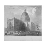 North-East View of St Paul's Cathedral, City of London, 1835 Giclee Print by Benjamin Winkles