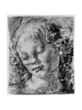 The Head of an Angel, 15th Century Giclée-tryk af Andrea del Verrocchio