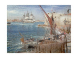 HMS the Victory at Portsmouth, 1907 Giclee Print by Albert Goodwin