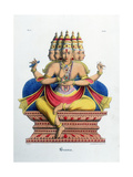Brahma, First God of the Hindu Trinity (Trimurt), and Creator of the Universe, C19th Century Lámina giclée por A Geringer