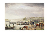 Italian Corps of Eugene De Beauharnais Crossing the Niemen on June 1812 Giclee Print by Albrecht Adam