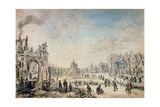Winter Landscape with Skaters, Dutch Painting of 17th Century Giclee Print by Aert van der Neer