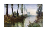A Canal with a Fisherman, C1857-1911 Giclee Print by Alphonse Legros