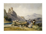 Figures and a Boat on the Shore of a Lake, a House and Ruined Castle in the Background, C1830S Giclee Print by Alfred Gomersal Vickers
