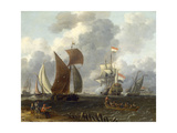 A Battle Offshore, 17th Century Giclee Print by Abraham Storck